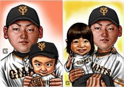 丸佳浩と子どもたちの似顔絵