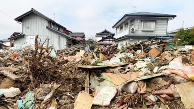 千曲川の氾濫後の悲惨な様子