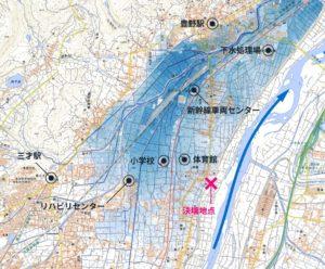 千曲川の氾濫した場所